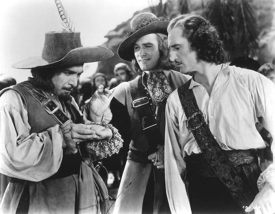 Erroll Flynn with Basil Rathbone doing a pretty bad french accent