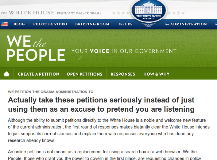 Obama does not take whitehouse.gov petitions seriously