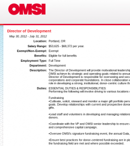 OMSI fundraising staff salary