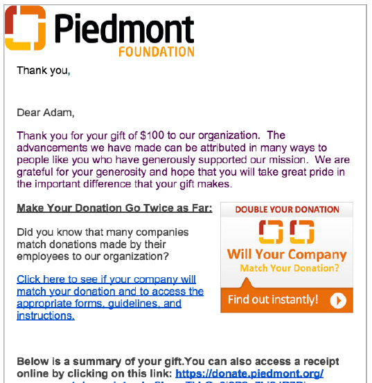 5 types of matching gift letters every nonprofit should be sending matching gift piedmont spiritdancerdesigns Choice Image
