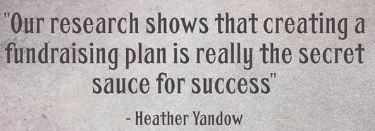 creating a fundraising plan is really the secret sauce for success.