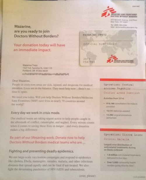 Doctors Without Borders Appeal letter Front 2015