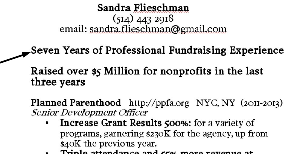 Sample Fundraising Resume