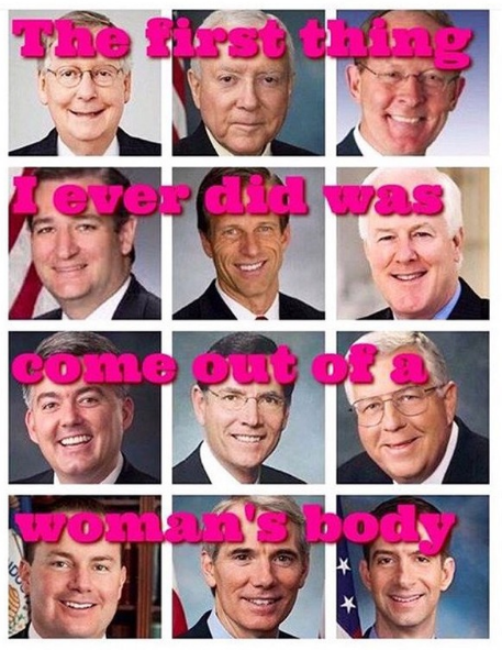 The first thing I ever did was come out of a woman's body picture of congressmen