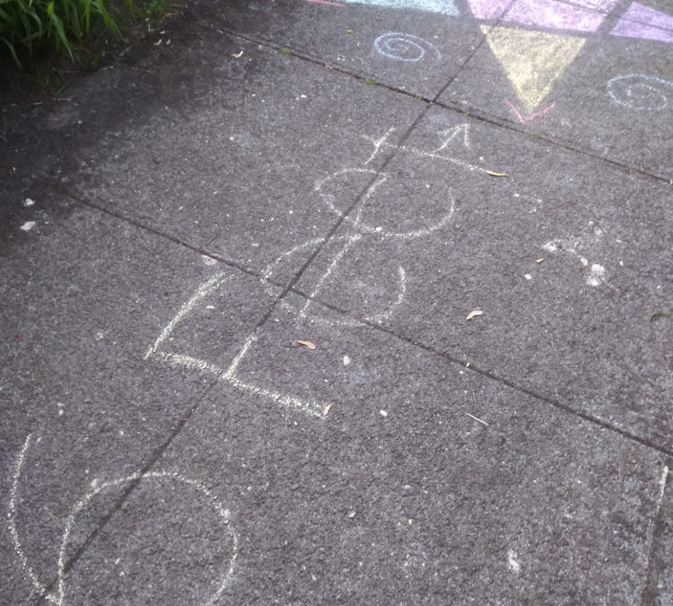 A chalk image that says six feet with a 5 pointed star