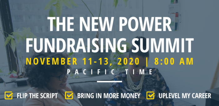 The New Power Fundraising SUmmit November 11-13, 2020 8am PT, Bring in more money, uplevel your career, assert your power